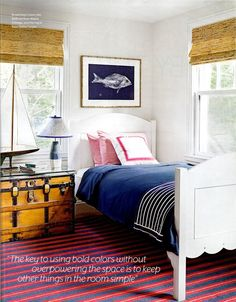 bamboo-shades, Design Chic, room by Lynn Morgan  ADORE the scallop-edge at bottom of bed's footboard!