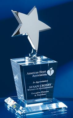 The Silver Star Crystal Award measures in height and showcases a combination of optical crystal and highly polished silver metal. The crystal base is deep etched by an expert c The Silver Star, Silver Stars, Corporate Awards, Corporate Gifts, Star Trophy, Trophies And Medals, Crystal Awards, Trophy Design, Festivals
