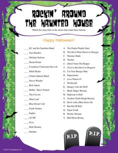 halloween quiz sheets