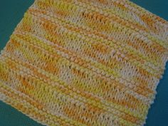 To knit the ridged washcloth shown above:    Cast on 34 stitches.    Begin the pattern:    Knit 5 rows in garter stitch.    Knit 4 rows in stockinette, beginning with a knit row.    Repeat the pattern until the cloth is 7 inches long or desired length, ending with the four rows of stockinette. Knit two more rows and bind off