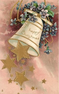 A HAPPY CHRISTMAS  many gilt stars falling from bell swinging left, blue violets above, purple background24/12/1900