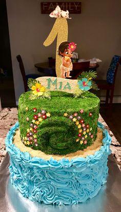 Moana Birthday Party Theme, Moana Themed Party, 2nd Birthday, Birthday Ideas, Cupcakes, Cupcake Cakes, Moanna Cake, Moana Party Decorations, Girl Cakes
