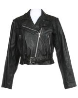 Black leather belted biker jacket with pleating