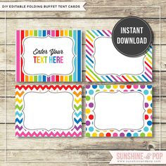 INSTANT DOWNLOAD   Rainbow Party EDITABLE by SunshineAndPop, $6.50