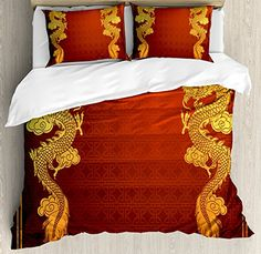 Dragon Duvet Cover Set, Luxury Soft Hotel Quality 4 Piece Queen Plush Microfiber Bedding Sets, Chinese Heritage Historical Asian Eastern Motif with Legendary Creature Design