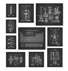 Periodic table of elements poster 1 chemistry science print chemistry art print set of 10 periodic table of elements vintage chemistry patent urtaz Images