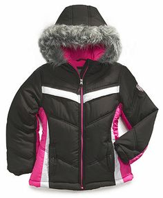 Protection System Kids Coat, Girls Faux-Fur-Trim Belted Bubble ...