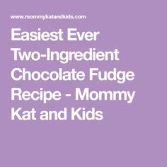 Easiest Ever Two-Ingredient Chocolate Fudge Recipe - Mommy Kat and Kids