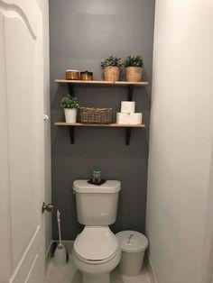 Easy DIY Bathroom Shelves for Storage Solution bathroomshelves bathroomdec… Toilet Room Decor, Small Toilet Room, Small Toilet Decor, Ikea Toilet, Small Toilet Design, Diy Bathroom, Bathroom Toilets, Bathroom Gray, Bathroom Small