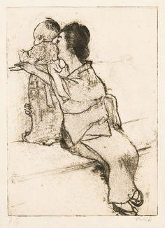Emil ORLIK (1870 - 1932): Mutter mit Kind (Mother and child) Oriental, Western Art, Mother And Child, Woodblock Print, Chinoiserie, Landscape Art, Japanese Art, Printmaking, Folk Art