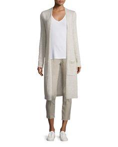 Torina+C+Linen/Cashmere+Long+Cardigan,+CS+Isakal+Ribbed+Long-Sleeve+Top+&+Alettah+Ainsley+Check+Cropped+Pants+at+CUSP.