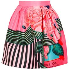 Mary Katrantzou Algernon floral-print faille mini skirt ($840) ❤ liked on Polyvore featuring skirts, mini skirts, bottoms, pink, white floral skirt, flared skirt, white flare skirt, mini skirt and short flared skirts