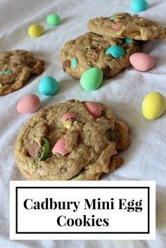 chewy and just enough Cadbury Mini Eggs to make my heart sing!Soft, chewy and just enough Cadbury Mini Eggs to make my heart sing! Cadbury Cookies, Chocolate Chip Cookies, Mini Eggs Cookies, Chocolate Pies, Easter Cookies, Easter Treats, Chocolate Recipes, Cookies Soft, No Egg Desserts