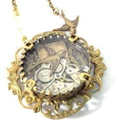 Sparrow Under Glass ... Steampunk on Etsy, $44.00