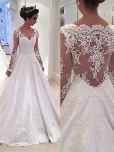 Robe de mariée naturel avec décoration dentelle avec manche longue en satin de col en v - photo 1