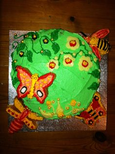 A special request for a garden cake for a little girl's birthday...butterflies, bees and dragonflies.
