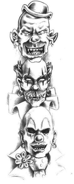 Evil Hear no speak no see no by Crazy-Tatts Chicano Art Tattoos, Skull Tattoos, Body Art Tattoos, Hand Tattoos, Sleeve Tattoos, Creepy Drawings, Dark Art Drawings, Scary Clown Drawing, Evil Clowns