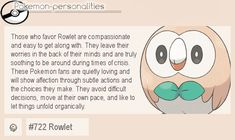 Pokemon Personalities: #722 Rowlet