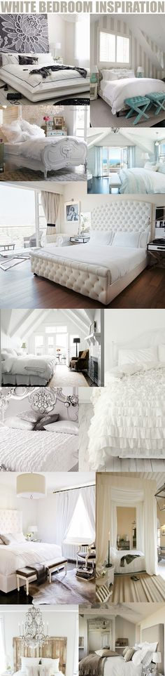 White Bedroom Decor Ideas- not all of these are things I would go for, but there are a few  good ideas throughout this. I love the way the white makes everything look so clean!