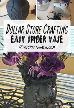 Use this concept for fall leaf designs... Or any fall/ thanksgiving designs.  Spray with black or brown with a touch of bronze.    Pinner says: dollar store crafting spider web vase, crafts, halloween decorations