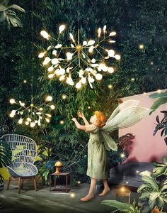 """This chendelier has several """"white leaves/lenses"""", which looks like a bifurcated branch with aesthetic and technical shapes. Chandelier Tree, Simple Chandelier, Chandelier Bedroom, Vintage Chandelier, Contemporary Pendant Lights, Pendant Lighting, Lustre Simple, Lustre Original, Lustre Led"""