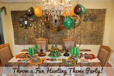 Hunting Theme Party with ideas for hunting theme parties, birthday parties- featuring deer hunting, camouflage, Duck Dynasty, food and party decorations Deer Hunting Party, Camouflage Party, Hunting Themes, Duck Dynasty, Party Themes, Party Ideas, Best Part Of Me, Party Fun, Birthdays