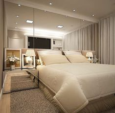 A very beautiful and cozy room: neutral colors that bring comfort and mirror . Luxury Bedroom Design, Master Bedroom Design, Home Decor Bedroom, Home Interior Design, Living Room Decor, Bedroom Modern, Master Bedrooms, Diy Bedroom, Bedroom Ideas