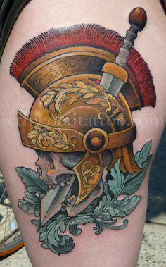 Seth Wood - Temple. Oakland, CA. Neo-Traditional. Tattoo. Skull. Roman. Helmet. Ornate. Sword.