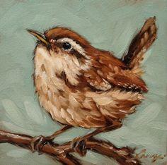 Wren peinture peinture à l'huile originale 5 x 5 par LaveryART