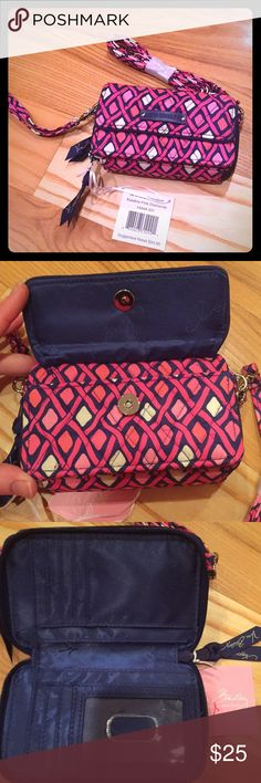 New Vera Bradley all in one crossbody Katalina pink diamonds pattern. Brand new with tags. Awesome wallet with lots of pockets, card slots and a zip area for coins. Has crossbody strap or wristlet strap Vera Bradley Bags Clutches & Wristlets