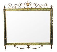 Espejo de estilo neoclásico en madera pintada y latón de Pierre Lottier, de mediados del siglo XX
