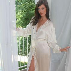 9501672b466 ANGELINA Silk Robe with Lace Trim. Wake up in style. Silk Charmeuse