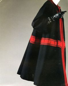   Christian Dior, Tuileries day coat, 1953, black and red wool  