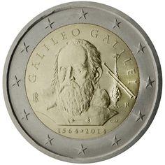 Pièce de 2 Euros commémorative D'Italie 2014 commémore le 450ème anniversaire de la naissance de Galileo Galilei mathématicien, géomètre, physicien et astronome italien du XVIIe siècle ( 6 500 000 ex/ estimation environ 4 Euros )