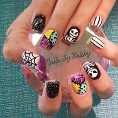 Halloween acrylic nails nail art nightmare before Christmas https://www.facebook.com/shorthaircutstyles/posts/1760247814265658