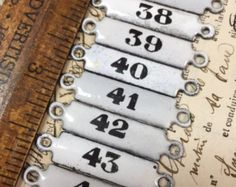 Antique 1800s French Enamel Number Plaques Tags Black White