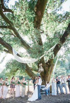 Flowing white fabric, chandelier, romantic outdoor ceremony under a massive tree // Kiel Rucker Photography
