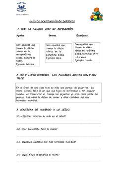 CUARTO BÁSICO.                 Guía de acentuación de palabras 1. UNE LA PALABRA CON SU DEFINICIÓN.Agudas                 ...