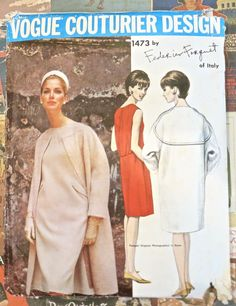Vogue 1473 Vintage 1960s Federico Forquet Dress and by Fragolina