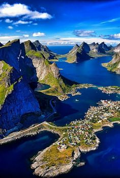 Reinefjord Aerial Lofoten Islands, Norway ~ photo by Douglas Places To Travel, Places To See, Wonderful Places, Beautiful Places, Amazing Places, Beautiful Scenery, Lofoten Islands Norway, Norway Fjords, Voyage Europe