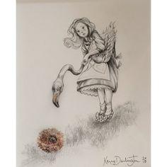 Kerry Darlington - Alice Plays Croquet - Original Drawing