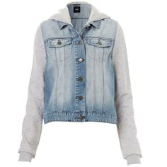 COLLEGE DENIM JACKET ($62) ❤ liked on Polyvore featuring outerwear, jackets, shirts, hooded jean jacket, blue jersey, hooded jacket, blue denim jacket and blue jackets