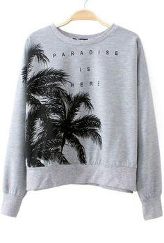 Grey Batwing Sleeve Coconut Trees Print Sweatshirt 20.17