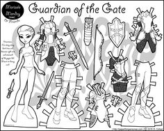 An elven warrior paper doll in black and white with a six piece wardrobe and accessories- from paperthinpersonas.com