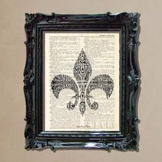 "Dictionary Art Print - ""Vintage Fleur De Lis 2"" Upcycled dictionary page print, Vintage French decor, Fleur De Lis Ornament print"