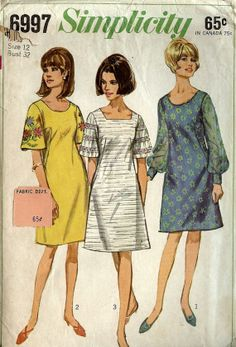 PATTERN Simplicity 6997 One piece dress with square or round neck A-line skirt sleeve variations Size 12 Vintage