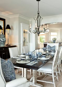 Beach House -- Classic Coastal Interiors Dining Room with definite elegant touches.