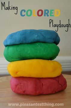 How to make colored playdough - bright colors are so fun to explore and use in play!