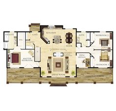 Seguin Floor Plan-- obsessed with that double sided fireplace. separates the kitchen and dining from the great room but its not totally closed off.