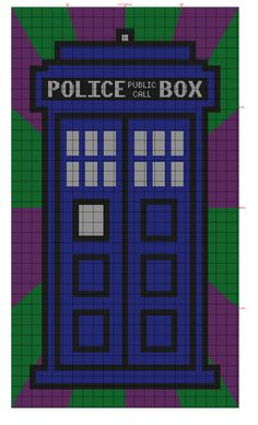 Doctor Who TARDIS Crochet blanket graph pattern for Piper's new blanket. Feel free to use it :)